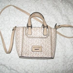 Guess mini white and tan handbag
